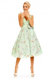 Retro Vintage Pin Up 1950's Swallow Bird Dress In Mint Green