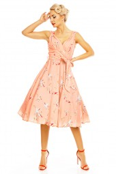 Retro Vintage Pin Up 1950's Swallow Bird Dress In Pink