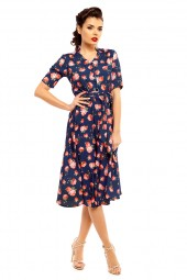 Retro Vintage Inspired 1940's Shirt Dress In Rose Print - Pack Of 10
