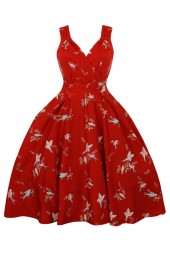 Womens Retro Vintage Maroon Bird 1950's Party Summer Dress - Pack Of 10