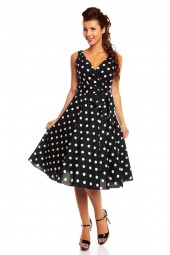 Retro Vintage 1950's Polka Dot Swing Dress In Black
