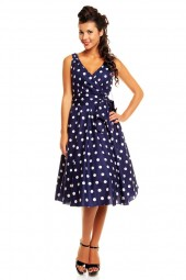 Retro Vintage 1950's Polka Dot Swing Dress In Navy