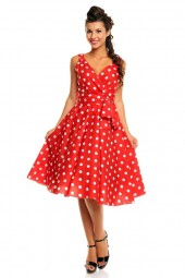 Retro Vintage 1950's Polka Dot Swing Dress In Red