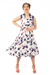 Retro Inspired Vintage Collared Sleeveless Midi Floral Dress - Pack Of 10
