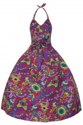 Womens Halter Neck Purple 5054 1950's Retro Party Summer Dress - Pack Of 10