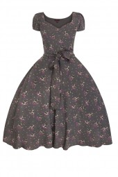 Retro Vintage Pin Up Swing Dress In Bambi Print Grey - Pack Of 10