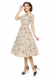 Ladies 1940's Style Retro Vintage Swing Dress In Beige - Pack Of 10