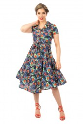 Retro Vintage Inspired Floral Shirt Dress - Pack Of 10