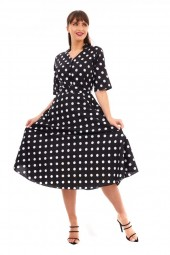 Retro Vintage 1940's Style Polka Dot Shirt Dress In Black -  Pack Of 10