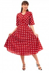 Retro Vintage 1940's Style Polka Dot Shirt Dress In Red -  Pack Of 10