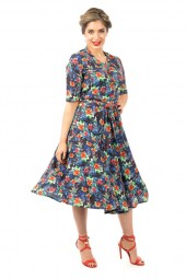 Retro Vintage Half Sleeve Shirt Dress In Floral Print - Pack Of 10