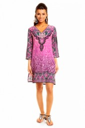 WOMENS TRIBAL PURPLE MIDI KAFTAN KIMONO TUNIC DRESS PACK OF 10