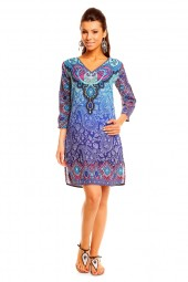 WOMENS TRIBAL BLUE MIDI KAFTAN KIMONO TUNIC DRESS PACK OF 10