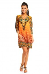 WOMENS TRIBAL YELLOW MIDI KAFTAN KIMONO TUNIC DRESS PACK OF 10