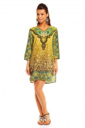 WOMENS TRIBAL GREEN MIDI KAFTAN KIMONO TUNIC DRESS PACK OF 10