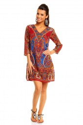 WOMENS TRIBAL RED MIDI KAFTAN KIMONO TUNIC DRESS PACK OF 10